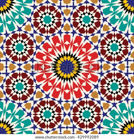 Morocco Seamless Pattern. Traditional Arabic Islamic Design background. Green, blue, ocher, red on beige. - stock vector