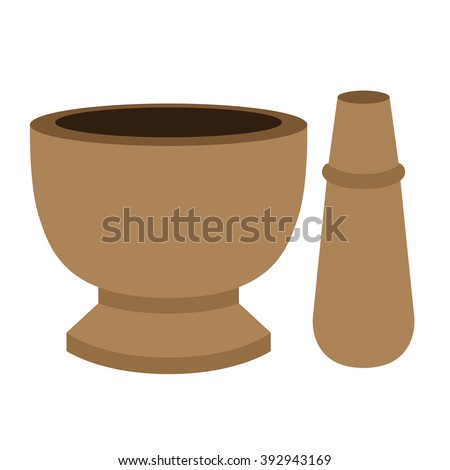 mortar and pestel cartoon vector - stock vector