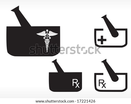 mortar and pestle with medical logo - stock vector