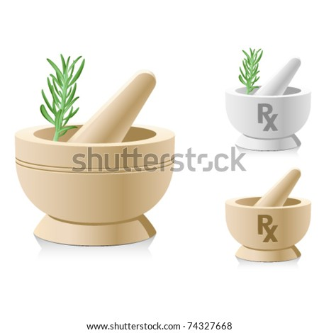 Mortar and pestle with RX symbol for medical prescriptions - stock vector