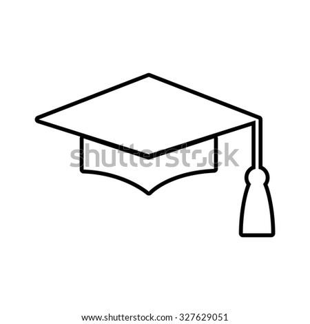 Mortar Board or Graduation Cap, Education symbol. Line icon - stock vector