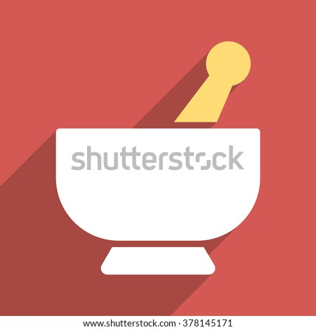 Mortar long shadow vector icon. Style is a flat light symbol with rounded angles on a red square background. - stock vector