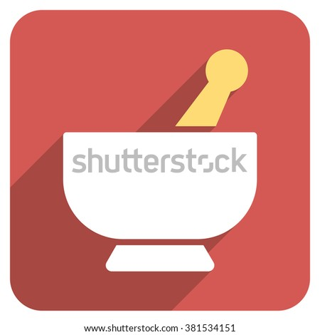 Mortar long shadow vector icon. Style is a flat symbol on a red rounded square button. - stock vector