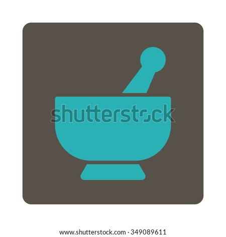 Mortar vector icon. Style is flat rounded square button, cyan and grey colors, white background. - stock vector