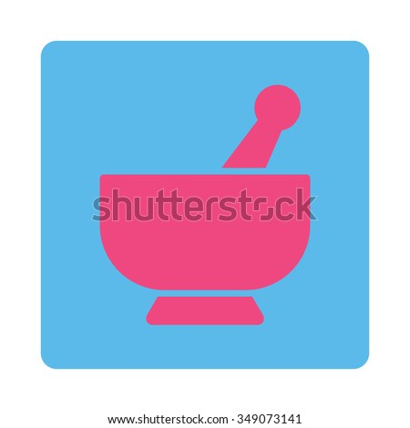 Mortar vector icon. Style is flat rounded square button, pink and blue colors, white background. - stock vector
