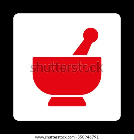 Mortar vector icon. Style is flat rounded square button, red and white colors, black background. - stock vector