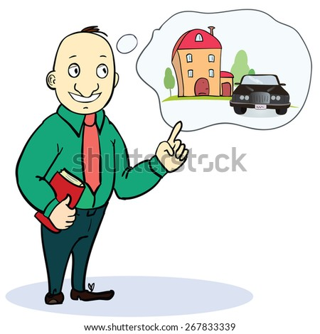 Mortgage and credit concept. Man planning his futureVector illustration - stock vector