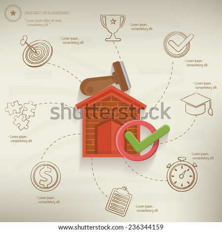 Mortgage concept,info graphic design on old paper background,clean vector - stock vector