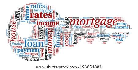 Mortgage Concept - Key shaped word cloud - stock vector