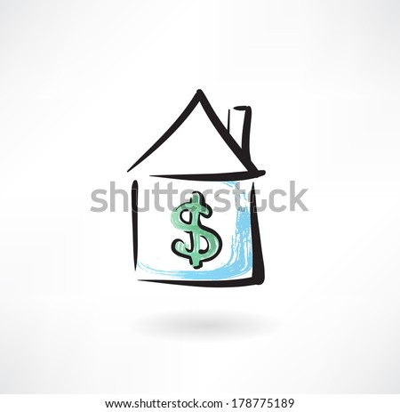 Mortgage grunge icon - stock vector