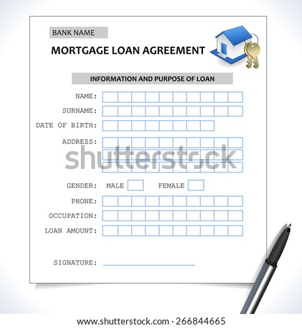 mortgage paper form ,loan application with home icon - vector eps10 - stock vector