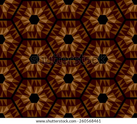 Mosaic brown hexagons pattern. Seamless texture. Vector art. - stock vector