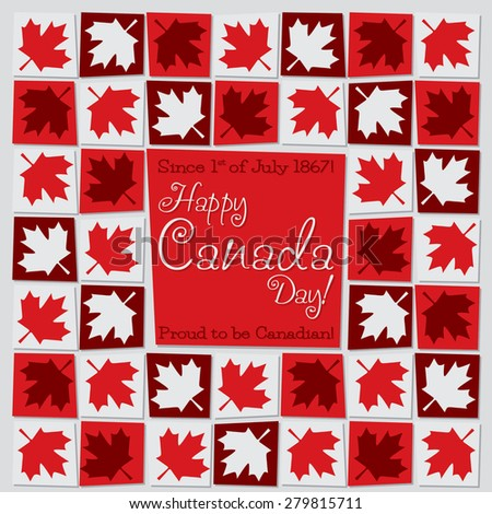 Mosaic Canada Day card in vector format. - stock vector