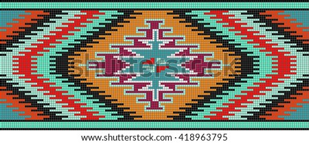 Mosaic colorful rug with traditional folk geometric pattern. The template for the assembly of the mosaic carpet.  Each element is isolated and edited. Vector 10 EPS illustration. - stock vector