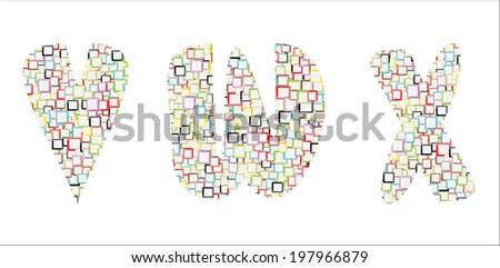 Mosaic Colorful Vector Alphabet-V,W,X - stock vector