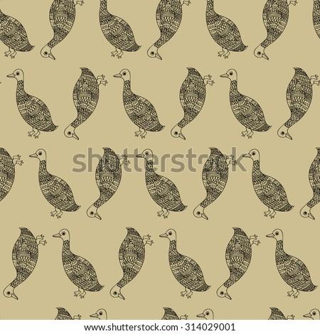 Mosaic Goose Black Pattern Beige - stock vector