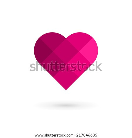 Mosaic heart symbol logo icon design template elements. May be used in medical, dating, Valentines Day and wedding design. - stock vector