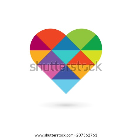 Mosaic heart symbol logo icon design template. Vector sign. May be used in medical, dating, Valentines Day and wedding design. - stock vector