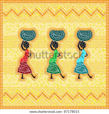 Mosaic of an african scene with women carrying food basket - stock vector