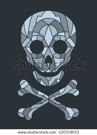 Mosaic tile or jigsaw puzzle skull in gray scale over black background, vector illustration