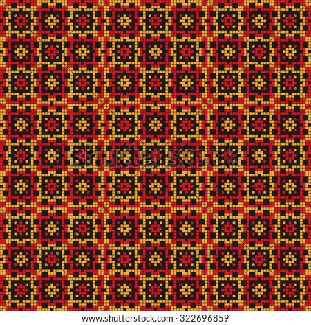 Mosaic tiles ethnic design pattern - stock vector