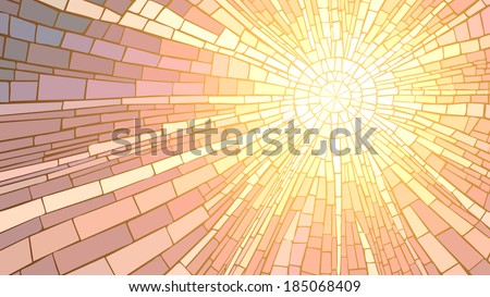 Mosaic vector illustration of sun rays, stained glass window. - stock vector