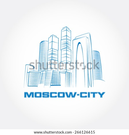 Moscow City. Moscow business buildings. Vector illustration.