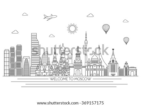 Moscow detailed skyline. Travel and tourism background. Vector line illustration. Line art style. - stock vector