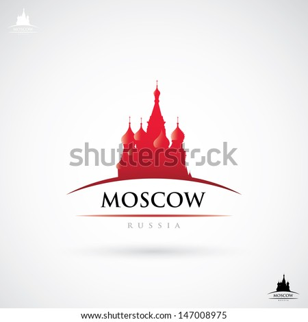 Moscow label with St. Basil cathedral - vector illustration - stock vector