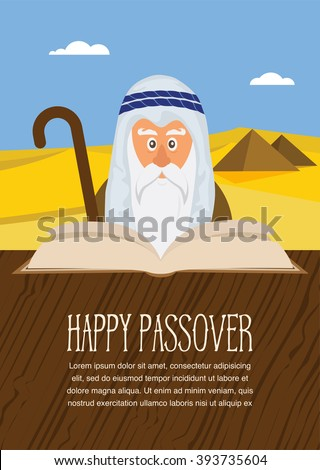 moses reading passover haggadah on stock vector 393735604