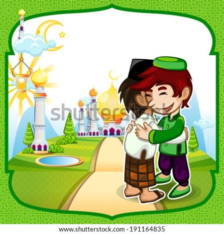 Moslem Islam Eid Mubarak Celebration Day Greeting Card - stock vector
