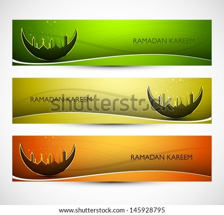 Mosque and moon beutiful headers set colorful Ramadan kareem vector illustration - stock vector