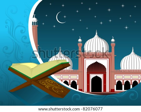 mosque background with holy book quran on wood stand - stock vector