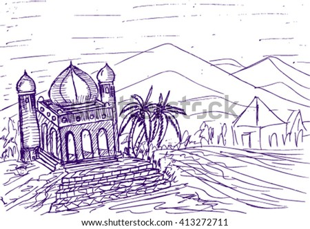 mosque doodle sketch illustration - stock vector
