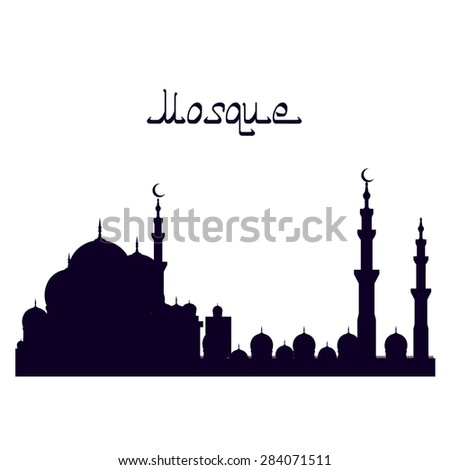 mosque isolated. muslim home. vector illustration - stock vector