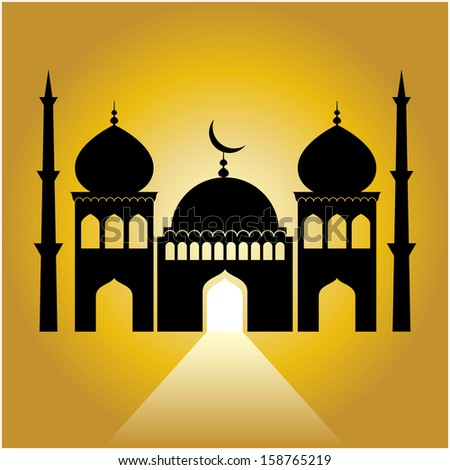 mosque on yellow background with light ray from the door.  - stock vector