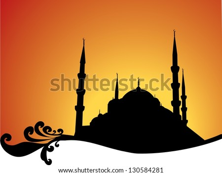 Mosque silhouette - stock vector