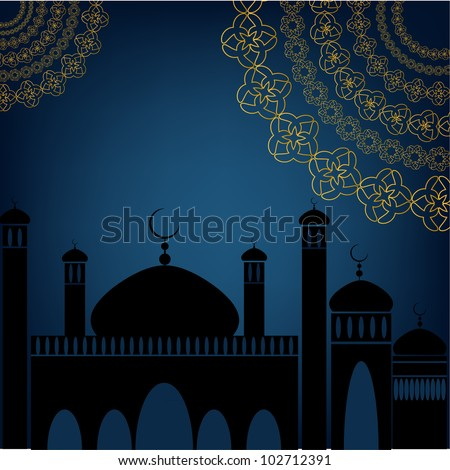 Mosque Silhouette With Abstract Design. Jpeg Version Also Available In Gallery. - stock vector