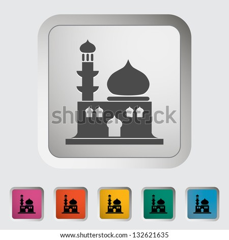 Mosque. Single icon. Vector illustration. - stock vector