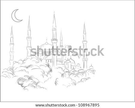 Mosque sketch - stock vector