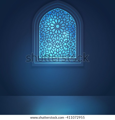 Mosque window for islamic greeting background