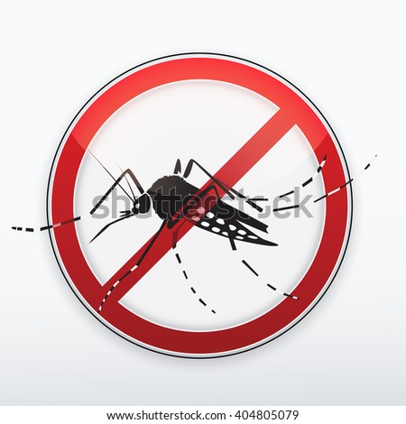 Mosquito, Aedes aegypti stylized silhouette as red danger stop sign. Warning Zika virus. Vector. - stock vector
