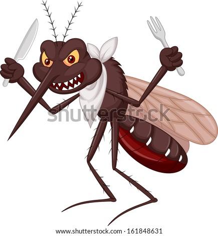 Mosquito cartoon ready to eat - stock vector