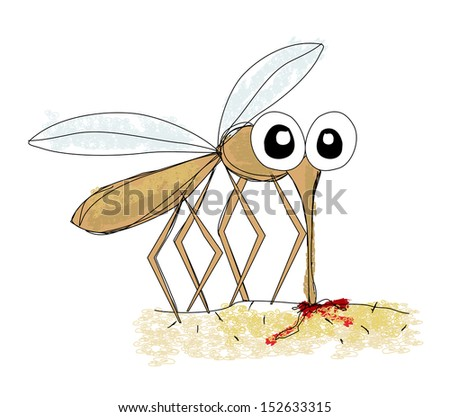 Mosquito, hand drawing vector - stock vector