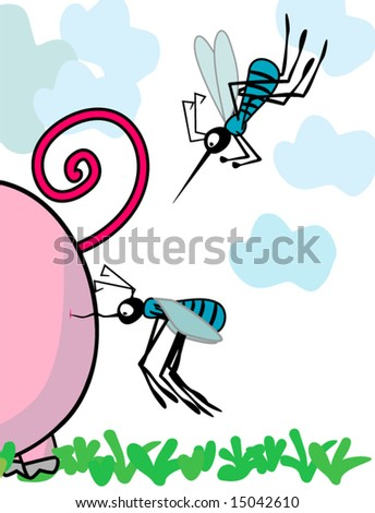 mosquitoes attack - stock vector