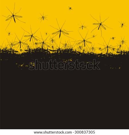 Mosquitoes background - stock vector