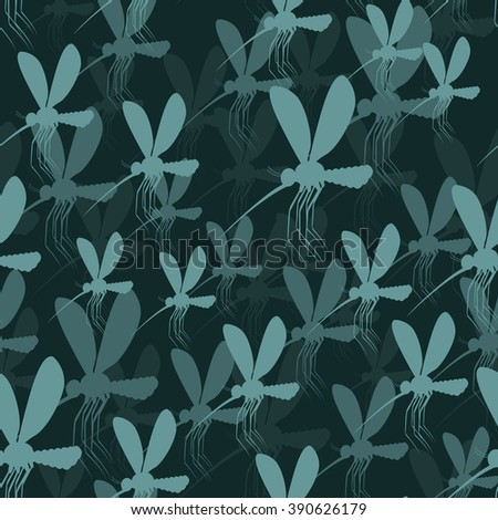 Mosquitoes seamless pattern. 3D background of gnat. Malaria mosquito tektsura. Zika virus many midge. Insect with wings texture - stock vector
