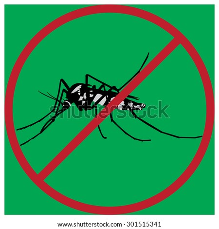 mosquitoes stop sign of a common house mosquito in a red cross with green background. For the design and decorate your products. - stock vector