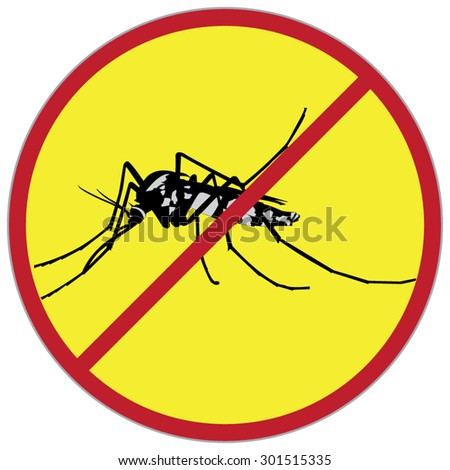 mosquitoes stop sign of a common house mosquito in a red cross with yellow background. For the design and decorate your products. - stock vector