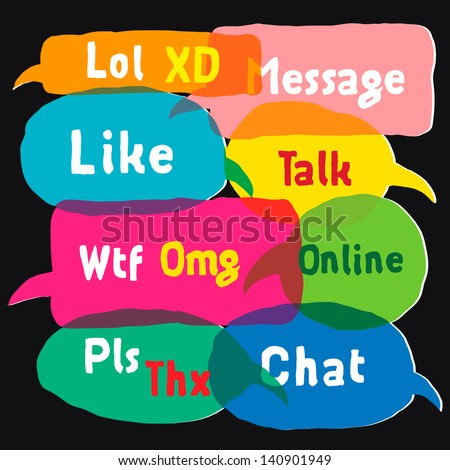 Most common used acronyms and abbreviations on multicolored speech bubbles, vector illustration. - stock vector